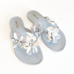 Nine West Blue and Gold Jelly Sandals